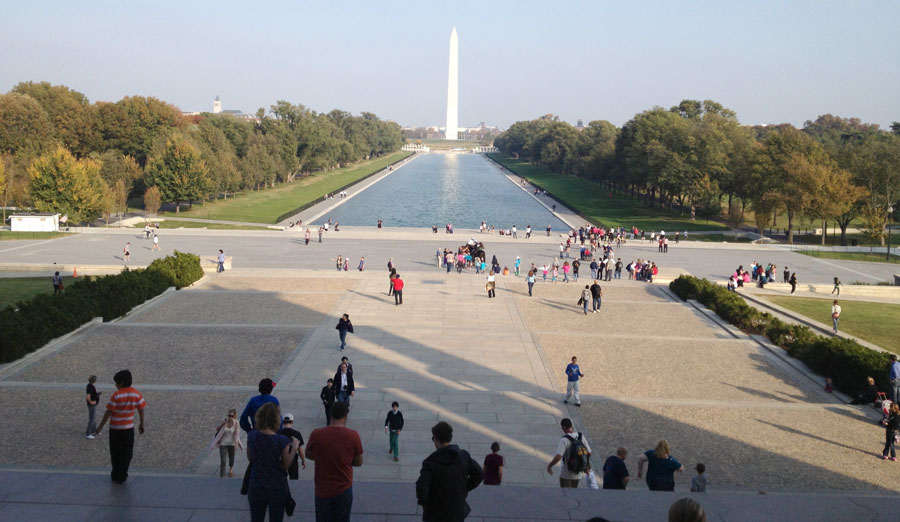 The view from the steps of the Lincoln Memorial.