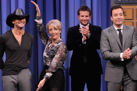 On the third Tonight Show, Fallon and three guests (Tim McGraw, Emma Thompson, and Bradley Cooper) played charades. It was hysterical.