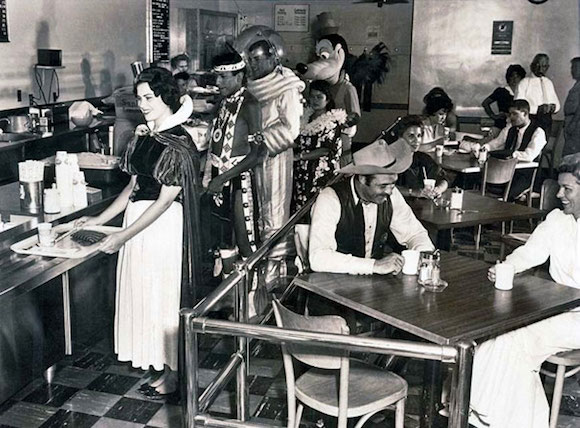 In the Disneyland cafeteria, in 1961.