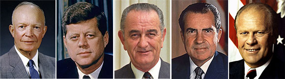 L-r: Eisenhower, Kennedy, Johnson, and Nixon.