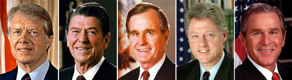L-r: Ford, Carter, Reagan, and Bush.